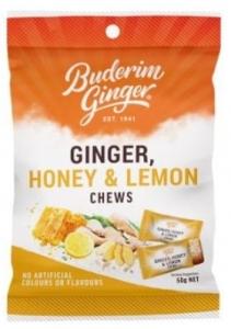 BUDERIM GINGER HONEY LEMON CHEWS 50G