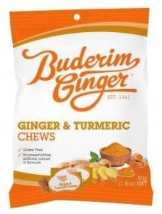 BUDERIM GINGER & TURMERIC CHEWS 50G