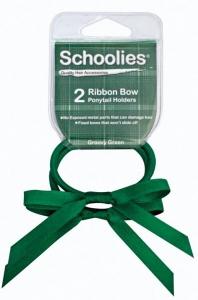 SCHOOLIES RIBBON BOW P/T 2PC  GREEN
