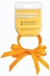 SCHOOLIES RIBBON BOW P/T 2PC GOLD