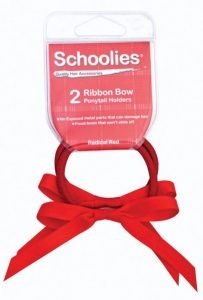 SCHOOLIES RIBBON BOW P/T 2PC RED