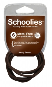 SCHOOLIES M/F P/TAIL HOLDER BROWN 6PK