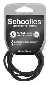 SCHOOLIES M/F  P/TAIL HOLDER 6PCE BLACK