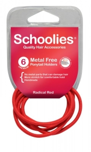 SCHOOLIES M/F P/TAIL HOLDER 6PCE RED