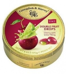 C&H DUO CHERRY DROPS LIME FILLED 175G