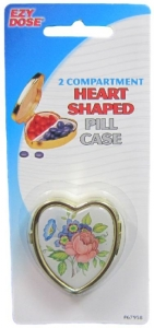 HEART SHAPED PILL CASE 2 COMPARTMENTS+++