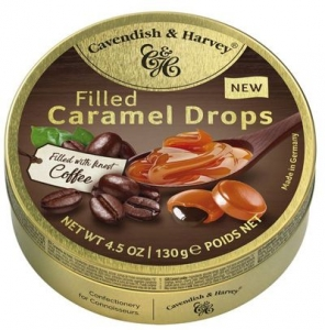C&H TINS CARAMEL DROPS COFFEE FILLED 130G