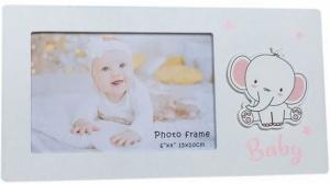 BABY PHOTO FRAME ELEPHANT PINK 6X4