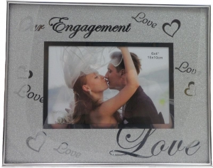 PHOTO FRAME 6X4 ENGAGEMENT SILVER+++