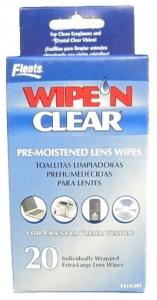 FLENTS WIPE N CLEAR PRE MOIST LENS WIPES+++