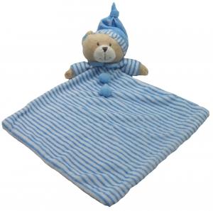 BABY BEAR BLANKIE BLUE 28CM