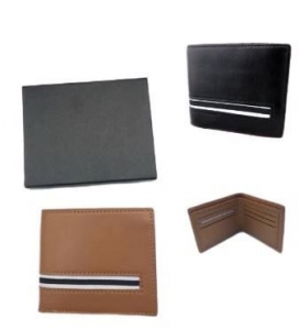 MENS  FAUX LEATHER WALLETS WITH STRIPE 2 ASSTD