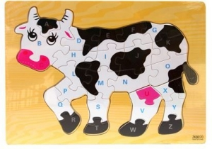 JIGSAW WOODEN PUZZLE COW