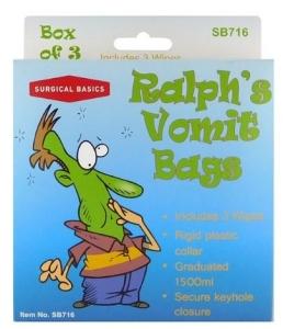 SB VOMIT BAG PLASTIC/RING DISP 6