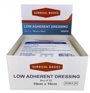 LOW ADHERENT DRESSING 10X10CM DISP25