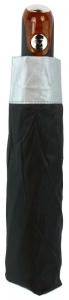 UMBRELLA COMPACT BLACK AUTO SILVER TRIM+++