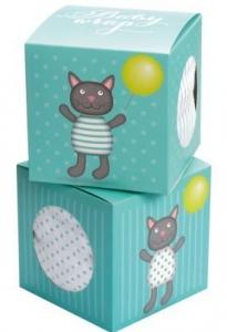 MUSLIN WRAP CAT BLUE GIFT BOX 120X120CM+++