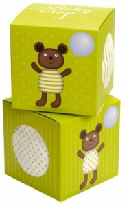 MUSLIN WRAP TEDDY GREEN GIFT BOX 120X120CM+++