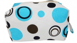 COSMETIC BAG BLUE RETRO CIRCLES 21X12X10CM+++