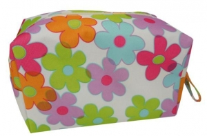 COSMETIC BAG COLOURED FLOWERS 21X12X10CM+++
